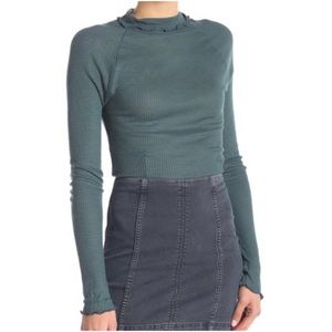 Free People Skyline Thermal Top Evergreen Medium